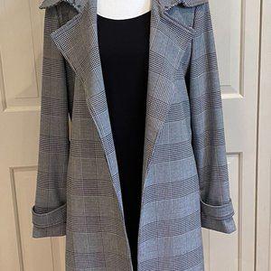 Carolina Belle Long Black and White Plaid Versatile Jacket - Size M